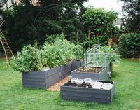 Hochbeete mit Frühbeet im Garten