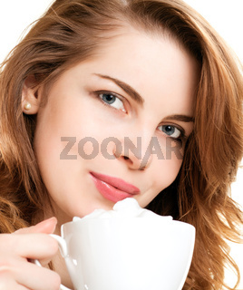 Portrait  woman drinking cappuccino