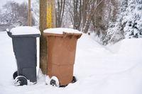 Mülltonnen am Straßenrand an einer eingeschneiten Straße