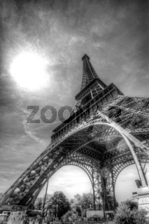 black and white eiffel tower from below