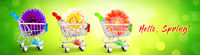 Mini shopping cart with colorful flowers and butterflies.