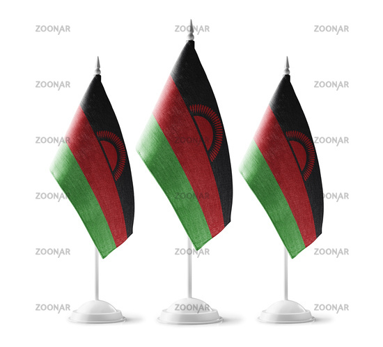 Small national flags of the Malawi on a white background