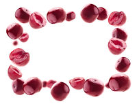 Lots of cherry in the shape of a frame. Isolated on a white background