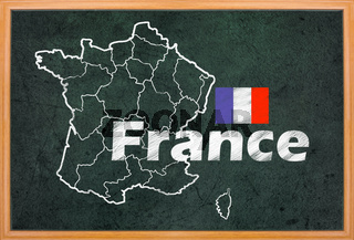 France map and flag draw on blackboard