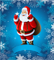 Blue Christmas greeting card with santa claus