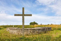 Old church ruin with a cross