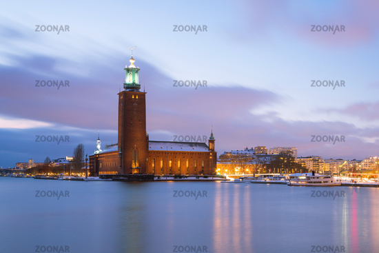 Stockholm City Hall at dusk Sweden