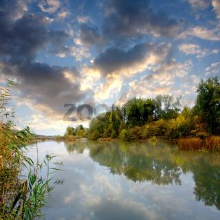 Evening scene on river