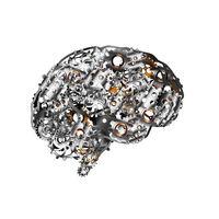 Detailed clockwork mechanism with glossy steampunk cogwheels in brain shape on white