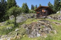 Bergütte zwischen Bellwald und Aspi-Titter Hängebrücke bei Fieschertal Mountain hut between Bellwald and Aspi-Titter Suspension bridge near Fieschertal