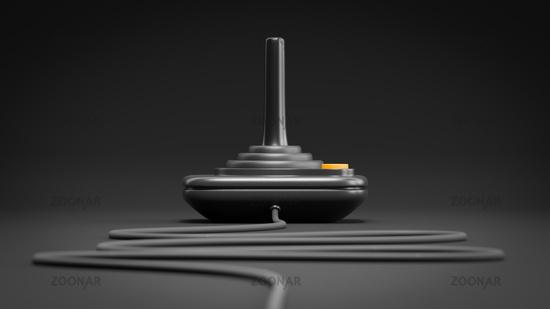black retro joystick with orange button