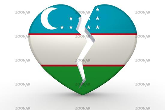 Broken white heart shape with Uzbekistan flag