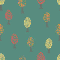 Cute seamless pattern with autumn trees on green background. Pattern for textile, wrapping, etc.
