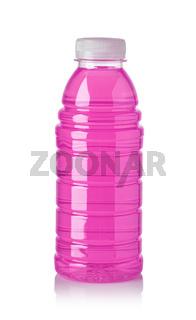 Plastic bottle of pink sweet water