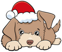 cartoon dog or puppy on Christmas time