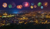 Fireworks in Prague - Czech Republic