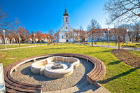 Town of Ogulin church and park view
