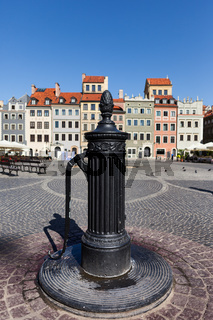 Old Water Pump on City Square in Warsaw