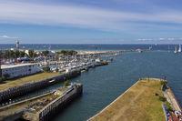 Warnemuende von oben zur Hanse Sail