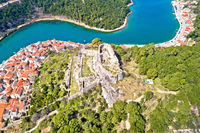 Novigrad Dalmatinski bay panoramic aerial view