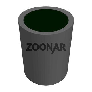 Isometric street trash can made of concrete isolated on white. The waste bin tapers towards the bottom. Vector EPS10.