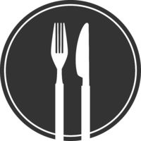 stylized plate with fork and knife