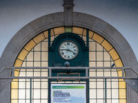Railway Station Sao Bento – Station Clock and Beaux-Arts Style Window above the Passage Between Platform and Entrance Hall - Porto