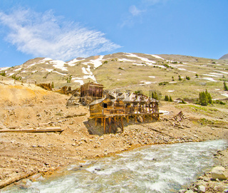 Preserved Houses in Animas Forks, a Ghost Town in the San Juan Mountains of Colorado