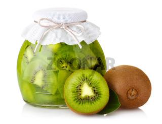 Exotic kiwi jam with ripe fruits and isolated on white