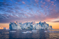 floating glaciers at fjord Disco Bay West Greenland