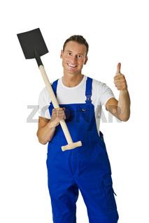 Bauarbeiter mit Spaten