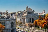 Madrid Spain, high angle view city skyline at Alcala street with autumn foliage season