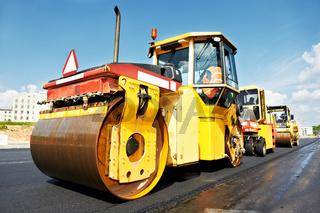 asphalt roller at work