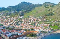Madeira coast town skyline aerial