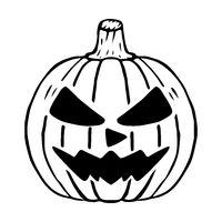 Mad Jack O Lantern glyph icon, halloween pumpkin isolated