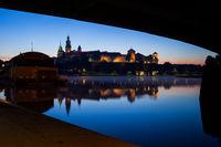 Under the Bridge River View of Wawel Castle in Krakow