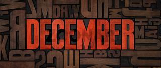 Retro letterpress wood type printing blocks - December