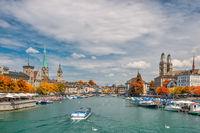 Zurich Switzerland, city skyline at Limmat River with autumn foliage season