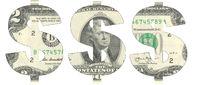 Stencil of the USD symbol on two-dollar bill