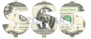 Stencil of the USD symbol on two-dollar bill
