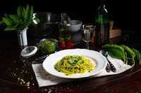 Pasta with wild garlic pesto and pine nuts