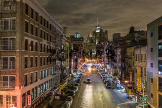 Chinatown at night, New York City, United States of America.