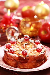 Traditional apple pie for Christmas with sweet cherries