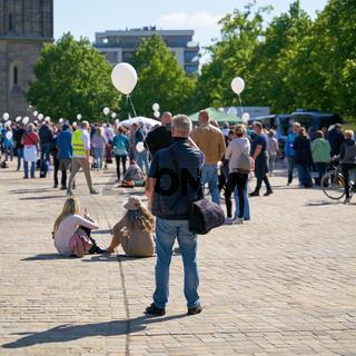 Protestveranstaltung während der Corona-Pandemie in Magdeburg