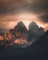 Tre cime di Lavaredo at sunset, Dolomite Alps, Italy