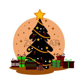 Christmas tree with many holiday gifts, waiting for the holiday - Vector
