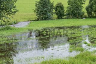 Überflutung eines reißenden Baches nach einem Unwetter