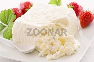 fresh curd with strawberries