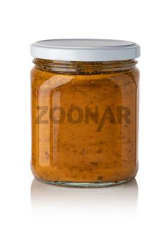 Vegetable preserve in glass jar