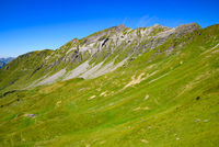 Landscape of mountains of Alps in summer on the border of France and Switzerland, Europe